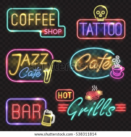 Neon signs vector neon lights illustrations vector de stock538311814 neon signs vector neon lights illustrations icons for bar tattoo coffee grills aloadofball Image collections