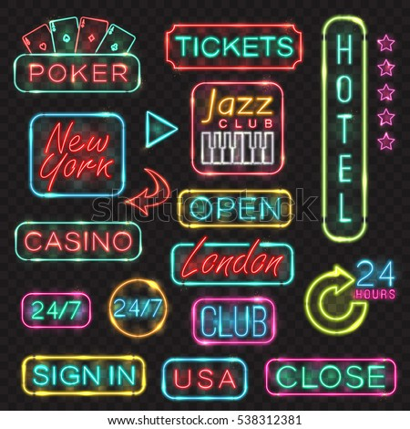 Neon signs. Vector neon lights illustrations icons for poker, casino, London, New York, USA, sign in, open, hotel, jazz club designs.