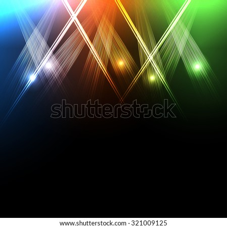 neon spotlights easy all editable - stock vector