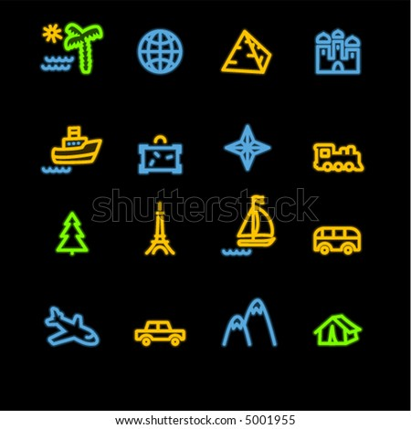 neon travel icons