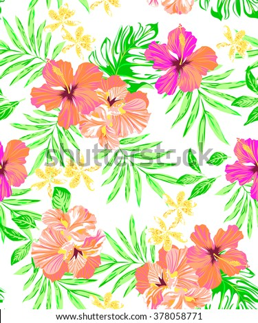 neon tropical floral print ~ seamless background - stock vector