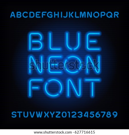 Neon tube alphabet font. Blue color type letters and numbers. Vector typography for headlines, posters, etc.