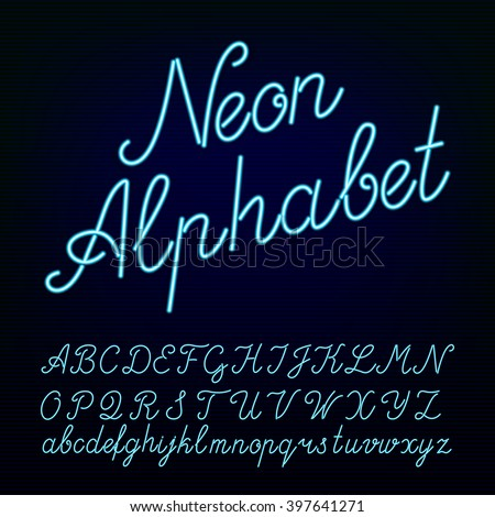 Neon tube hand drawn alphabet font. Script type letters on a dark background. Vector typeface for labels, titles, posters etc. - stock vector