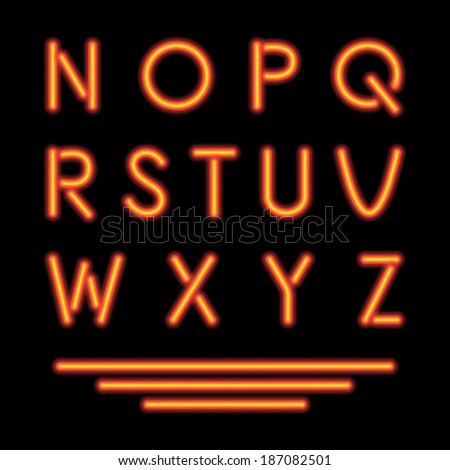 Neon Tube Letters. Glowing Font. Vector - stock vector