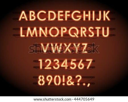 Neon vector letters and numbers. Neon tube lights text - stock vector