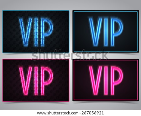 Neon vector VIP text in pink and blue - stock vector