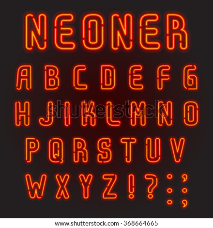 NEONER. Red neon font, complete Alphabet and numbers. Part 1/2