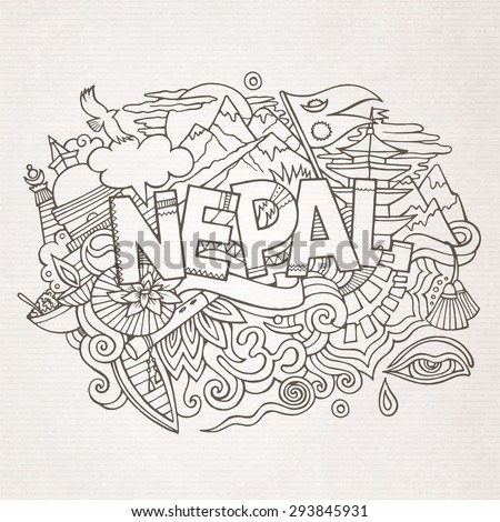 Nepal country hand lettering and doodles elements and symbols background. Vector hand drawn sketchy illustration - stock vector