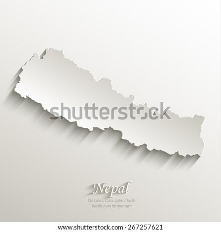 Nepal map card paper 3D natural vector - stock vector
