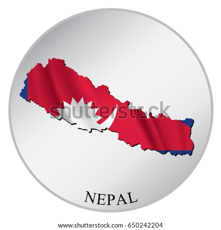 Nepal Vector Sticker Flag Map Label Stock Vector (Royalty Free ...