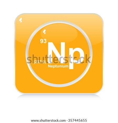 neptunium chemical element button - stock vector