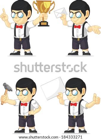 Nerd Boy Customizable Mascot 2 - stock vector