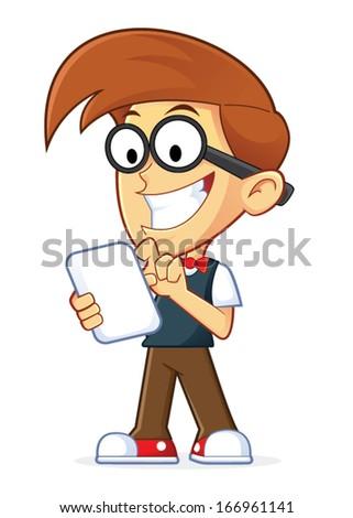 Nerd Geek Holding Tablet PC - stock vector
