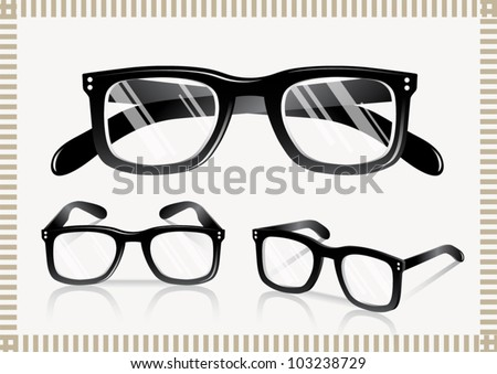 Nerd Glasses - Retro (shadows on separate layers. transparent lens) - stock vector