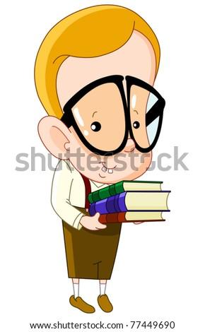 Nerd kid carrying books - stock vector