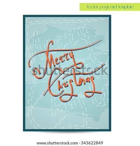 Nerry Christmas holiday lettering. Handwritten vector calligraphy.  Handwritten vector calligraphy over blue poster or poscard template - stock vector