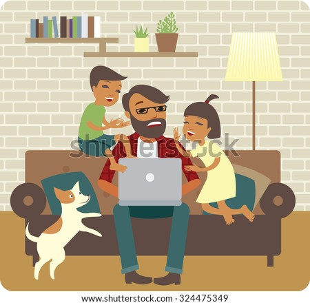 Nervous young father trying to work at home - stock vector