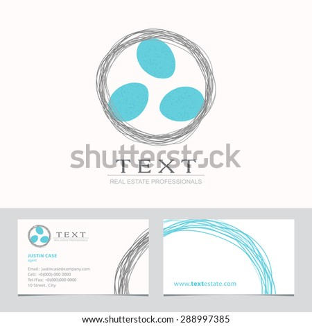Nest & Bird Eggs icon. Business sign & Business card vector template for real estate agency, architecture bureau, home decor boutique, home insurance, building & renovation. Corporate web site element - stock vector