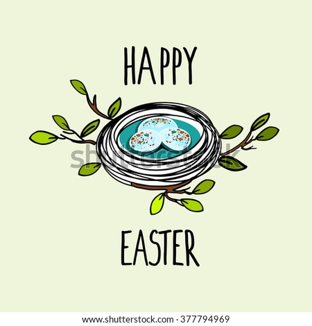 Nest with eggs, Easter greeting card, hand drawn vector illustration