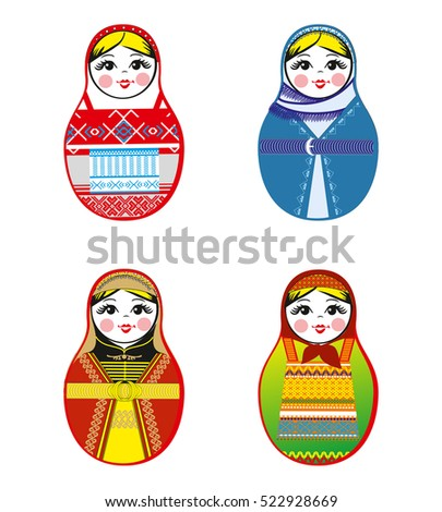 Nested dolls set. Matryoshka dolls with different traditional Russian ornaments. Isolated vector illustration Eps 10