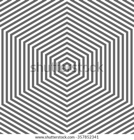 Nested hexagons. Monotonically decreases size of the figures. Abstract geometric background. Vector gray backdrop. Equal intervals. Similar to endless hexagonal tunnel stretching into the distance. - stock vector