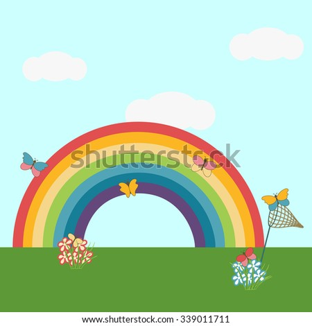 Net and colorful butterflies on a rainbow background. - stock vector