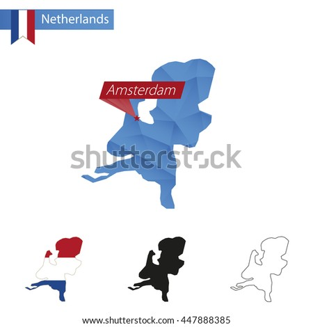 Netherlands blue Low Poly map with capital Amsterdam, versions with flag, black and outline. Vector Illustration. - stock vector