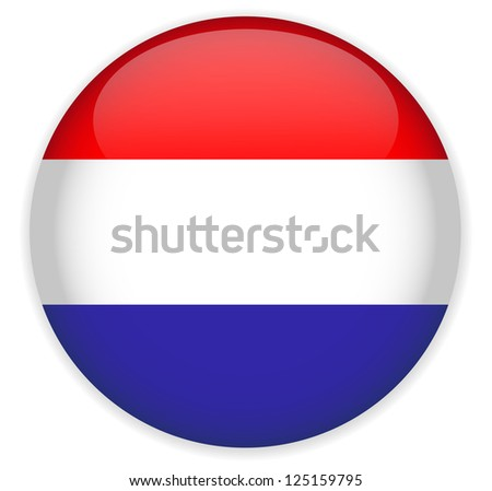 Netherlands Flag Glossy Button,Vector. - stock vector