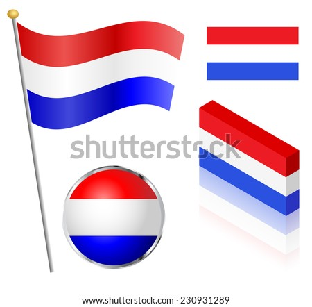 Netherlands flag on a pole, badge and isometric designs vector illustration.  - stock vector