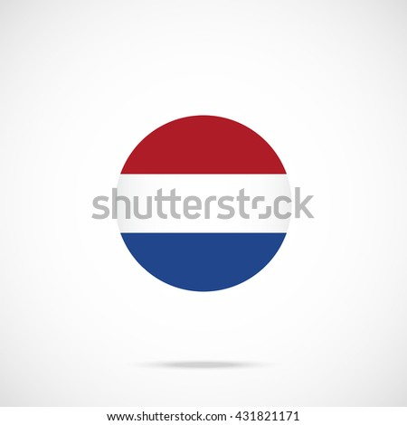Netherlands flag round icon. Netherlands flag icon with accurate official color scheme. Vector icon isolated on gradient background - stock vector