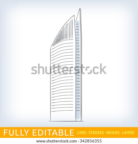 Netherlands, Hague, Skyscraper. Sketch line flat design of commerce architecture. Modern vector illustration concept. Fully editable outlines, saved brushes and layers. - stock vector