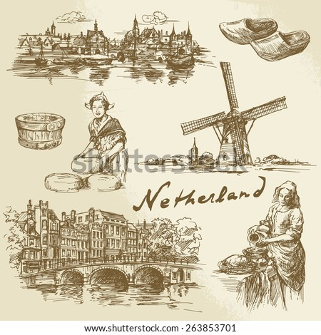 Netherlands - hand drawn set - stock vector