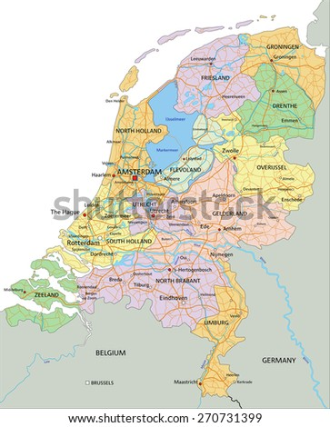 Netherlands - Highly detailed editable political map with separated layers. - stock vector
