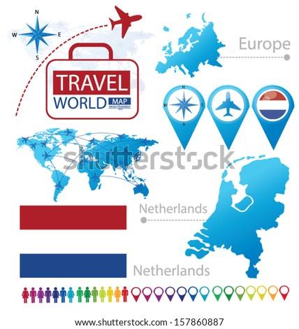 Netherlands Holland Flag World Map Travel Stock Vector 157860887 ...