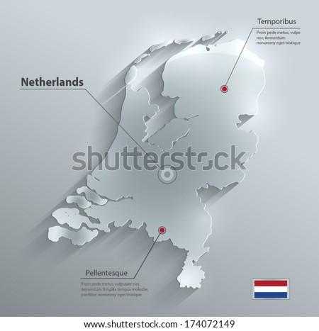 Netherlands Holland map flag glass water card paper 3D vector  - stock vector