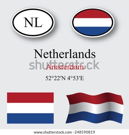 netherlands icons set against gray background, abstract vector art illustration, image contains transparency - stock vector