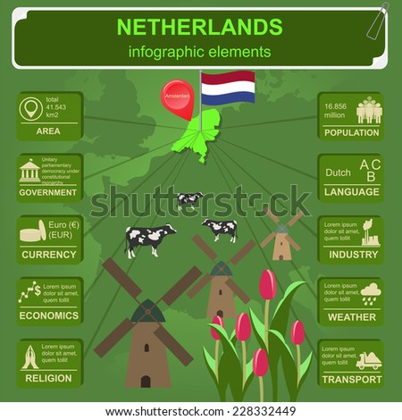 Netherlands infographics, statistical data, sights. Vector illustration - stock vector
