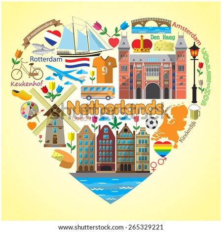 Netherlands love.Set colored flat vector icons and symbols in form of heart - stock vector