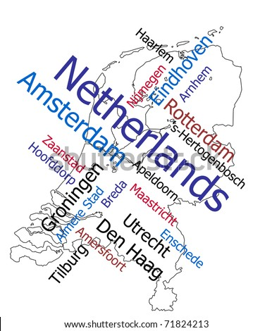 Netherlands map and words cloud with larger cities - stock vector