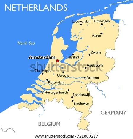 Netherlands Map Vector Detailed Color Netherlands Stock Vector