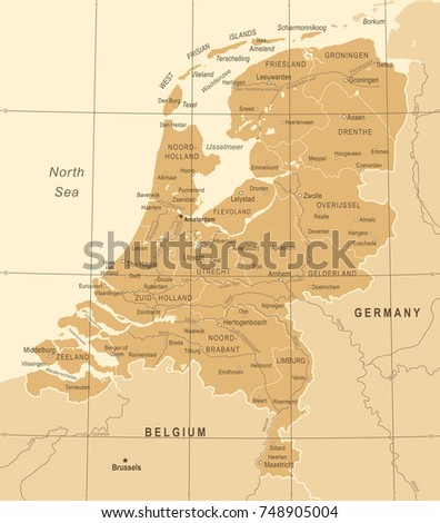 Netherlands Map Vintage Detailed Vector Illustration Stock Vector