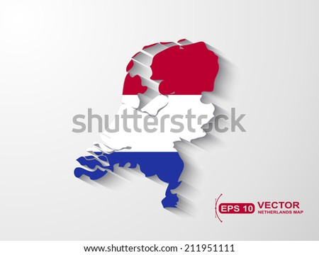 Netherlands map with shadow effect - stock vector