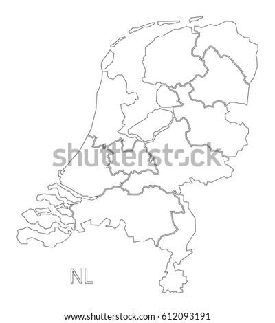 Netherlands Outline Silhouette Map Illustration Provinces Stock