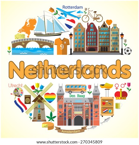 Netherlands round background. Vector colored flat icons and symbols set - stock vector