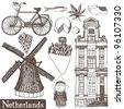 Netherlands set - stock vector