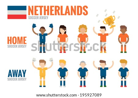 Netherlands soccer team character flat design. - stock vector