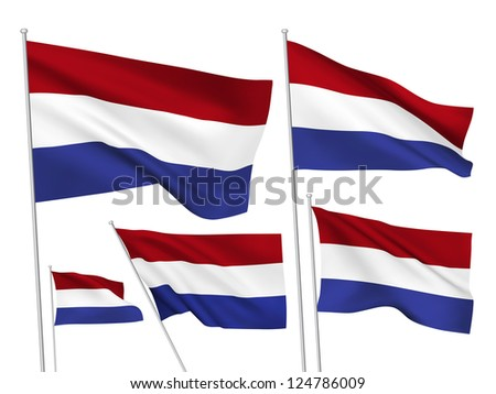 Netherlands vector flags. A set of 5 wavy 3D flags created using gradient meshes. - stock vector