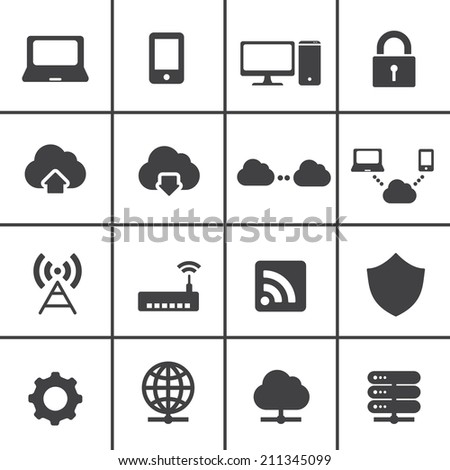 Network and cloud computing icons - stock vector