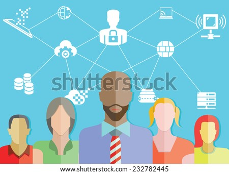network and communication concept, data security concept - stock vector