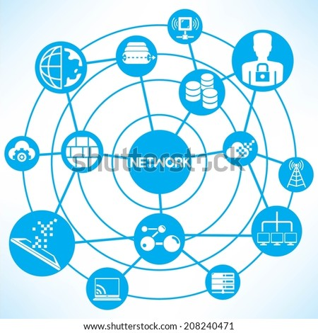 network and communication concept info graphic network with blue theme - stock vector